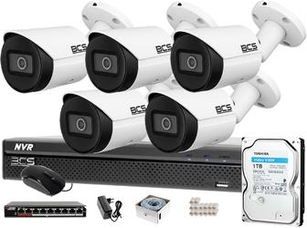 5x kamera cyfrowa bcs-tip3501ir-e-v rejestrator bcs-nvr0801x5me-ii 1tb monitoring ip sieciowy