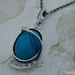 Bowi - srebrny wisiorek z turkusem i kryształkami