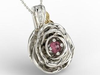 Wisiorek z białego i żółtego złota w kształcie róży z rubinem i diamentami apw-95bz - białe i żółte  rubin