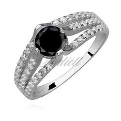 Srebrny pierścionek pr.925 cyrkonia czarna okrągła - czarna