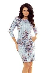 Niebieska midi sukienka ściągana w paski i kwiaty