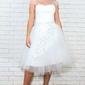 Biała krótka sukienka ślubna z koronką w pasie, wieczorowa - ostatnia sztuka