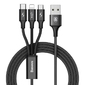 Kabel baseus rapid 3w1 iphone micro usb usb-c 3a czarny - czarny