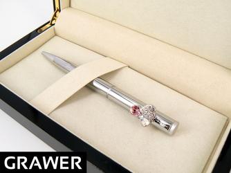 Długopis Swarovski serce Etui Drewniane z GRAWEREM