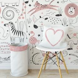 Tapeta dziecięca - pink zoo , rodzaj - próbka tapety 50x50cm