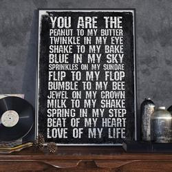 You are the peanut to my butter - plakat typograficzny , wymiary - 50cm x 70cm, ramka - czarna