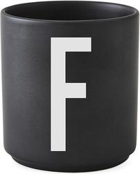 Kubek porcelanowy aj czarny litera f