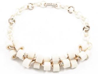 Naszyjnik kolia biały koraliki - white