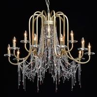 Żyrandol perłowe złoto i kolorowe kryształy valencia chiaro classic 299011715