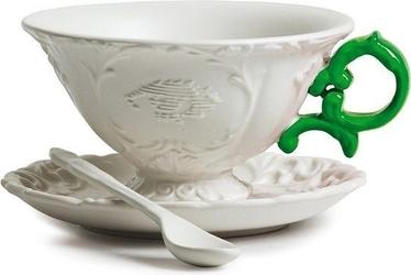 Filiżanka do herbaty ze spodkiem i łyżeczką i-tea zielona