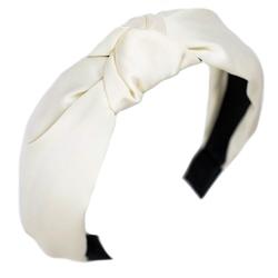 Opaska do włosów węzeł kremowa turban
