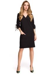Sukienka na co dzień z kieszeniami i wiązaniem przy rękawach czarna s111