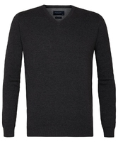 Grafitowy sweter  pulower v-neck z bawełny pima  s