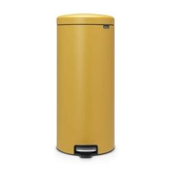 Brabantia - kosz newicon - 30 l - plastikowe wiadro i wolnoopadająca pokrywa - musztardowa powłoka mineralna - musztardowy