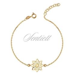 Srebrna bransoletka pr.925 z ażurową zawieszką kwiatek - pozłacana - żółte złoto