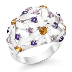 Summer; srebrny pierścionek z ametystami, szafirami