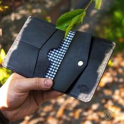 Skórzany cienki portfel męski z bilonówką solier sw15a slim czarny - czarny