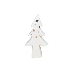 Ozdoba  dekoracja świąteczna  figurka porcelanowa dekoracyjna święta boże narodzenie altom design choinka biała ze złotymi gwiazdkami 7,5 x 3