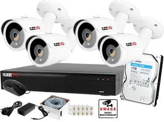 Zestaw do monitoringu keeyo ip h265+ 5mpx ir 30m 4x kamera tubowa 1tb