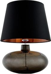 Lampa stołowa sawa przydymiona podstawa czarno-miedziany abażur