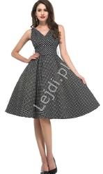 Czarna rozkloszowana sukienka pin up w kropki, idealna na wesele 6295-1