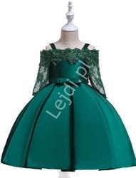 Sukienka dla dziewczynki na wesele w kolorze zielonym w szmaragdowym odcieniu 083