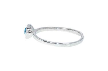 Rodowany srebrny pierścionek z kryształem swarovski kolor aquamarin