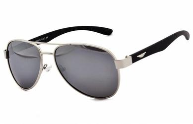 Pilotki polaryzacyjne okulary aviator lustrzanki srebrno czarne pol-65c