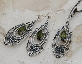 Cordoba - srebrny komplet z oliwinem