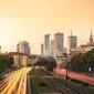 Warszawa centrum w słońcu - plakat premium wymiar do wyboru: 60x40 cm