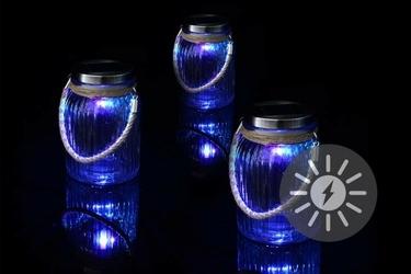 Lampiony solarne led 3 sztuki, kolorowe szklane