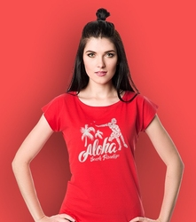 Aloha t-shirt damski czerwony l