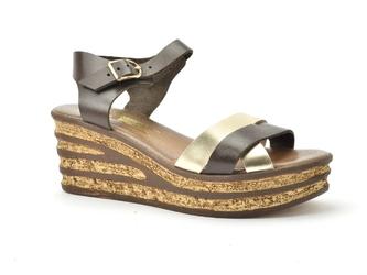 Sandały lemar 40158 bf. czekolada złoty