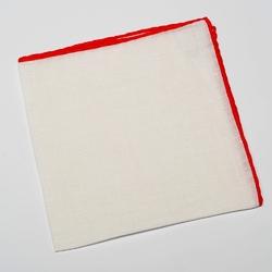 Elegancka biała poszetka lniana z czerwoną obwódką
