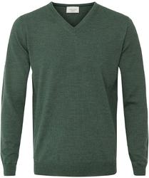 Sweter  pulower v-neck z wełny z merynosów zielony xl
