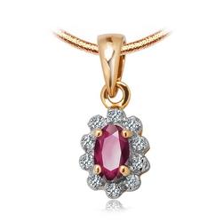 Staviori Wisiorek. 10 Diamentów, szlif achtkant, masa 0,04 ct., barwa I-L, czystość I2-I3. 1 Rubin, masa 0,20 ct.. Żółte, Białe Złoto 0,585. Wymiary 6,5x8 mm.