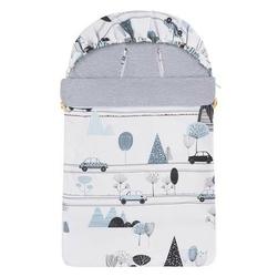 Śpiwór bawełniany wiosenno-letni samiboo superb mini z regulowaną grubością - samochody z szarym