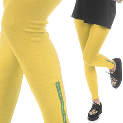 LEGGINSY YELLOW ZIP - YELLOW