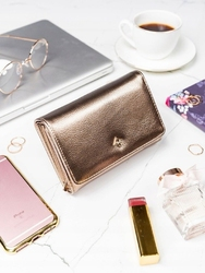 Stylowy portfel damski milano design złoty - złoty