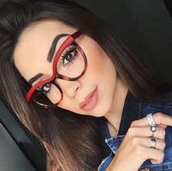 Okulary damskie kujonki zerówki. czerwone - czerwone