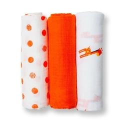 Zestaw pieluszek muślinowych lulujo 70x70 pomarańczowy