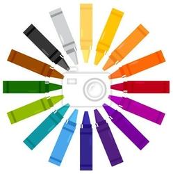Naklejka kolorowe kredki w okręgu na białym