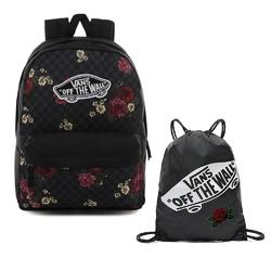 Plecak do szkoły vans realm botanical check - vn0a3ui6uwx + worek custom dark rose