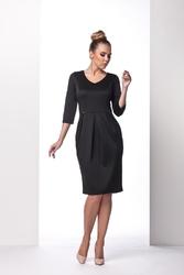 Czarna sukienka bombka do kolan