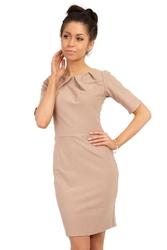 Cappuccino elagancka sukienka z zakładkami przy dekolcie