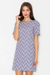 """Żakardowa sukienka o linii """"a"""" z krótkim rękawem - wzór 33"""