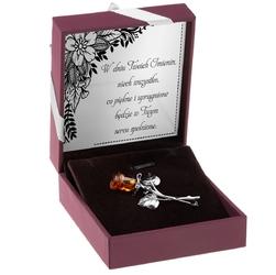 Srebrna broszka róża z bursztynem pr.925 dedykacja