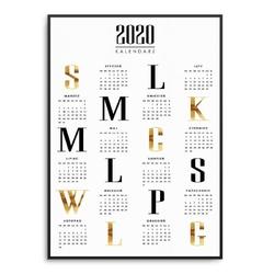 Classy - kalendarz 2020 w ramie , wymiary - 60cm x 90cm, kolor ramki - czarny