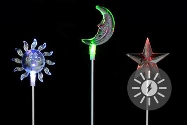 Lampki solarne 3 sztuki, kolorowe led, zestaw