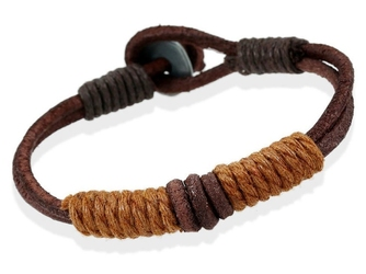 Bransoletka męska skóra sznurek brązowa - brązowa